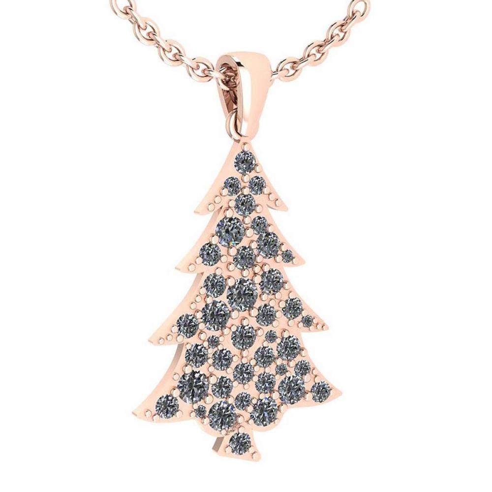 Certified 0.89 Ctw Diamond VS/SI1 Christmas tree Necklace 18K Rose Gold Made In USA #PAPPS22264