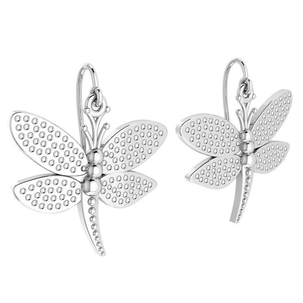 Gold Butterfly Wire Hook Earrings 18K White Gold Made In Italy #PAPPS22299