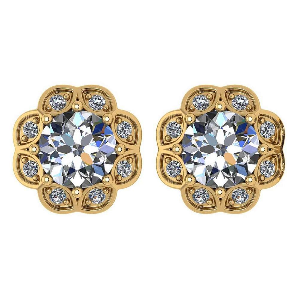 Certified .99 Ctw Diamond 14k Yellow Gold Halo Stud Earring VS-SI1 #PAPPS94882