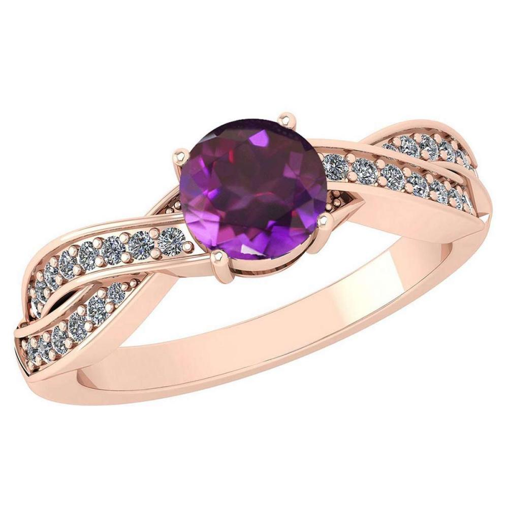 Certified 1.05 Ctw Amethyst And Diamond 18K Rose Gold Halo Ring #PAPPS19782