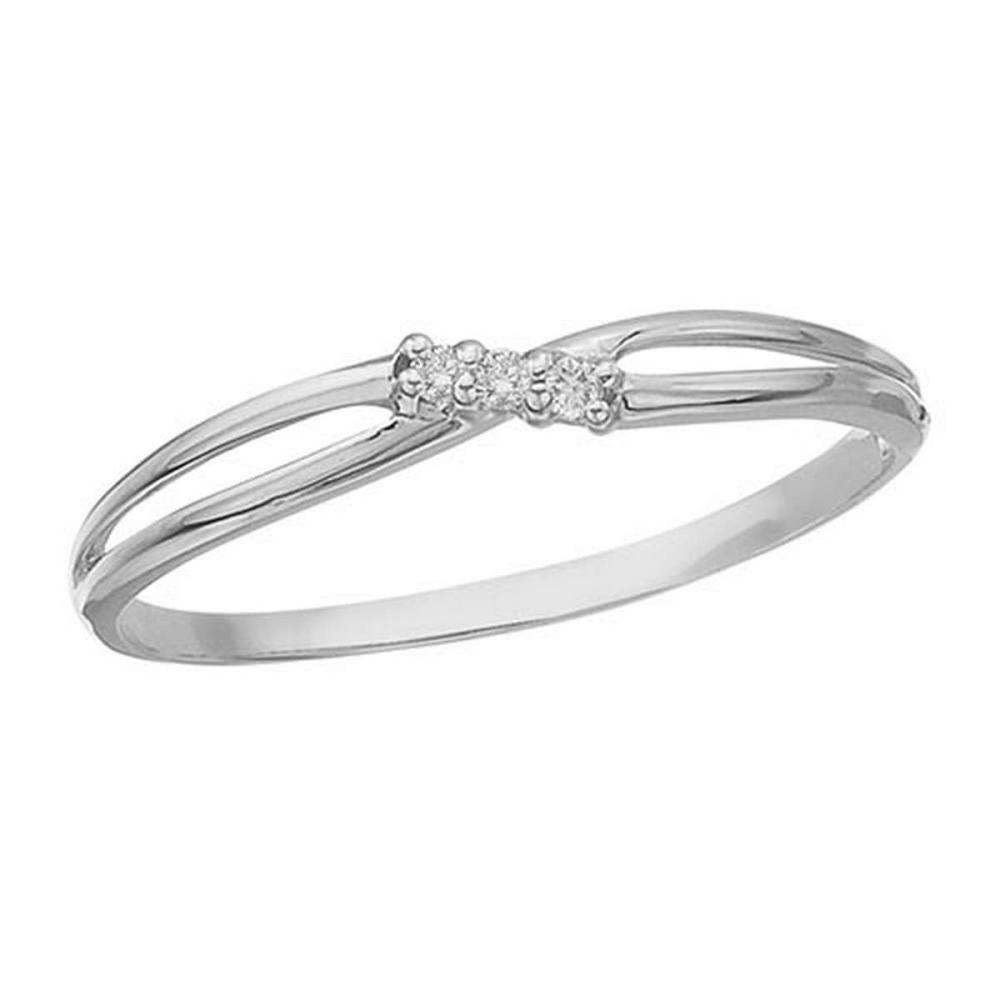 Certified 14K White Gold and Diamond Bypass Promise Ring #PAPPS50794