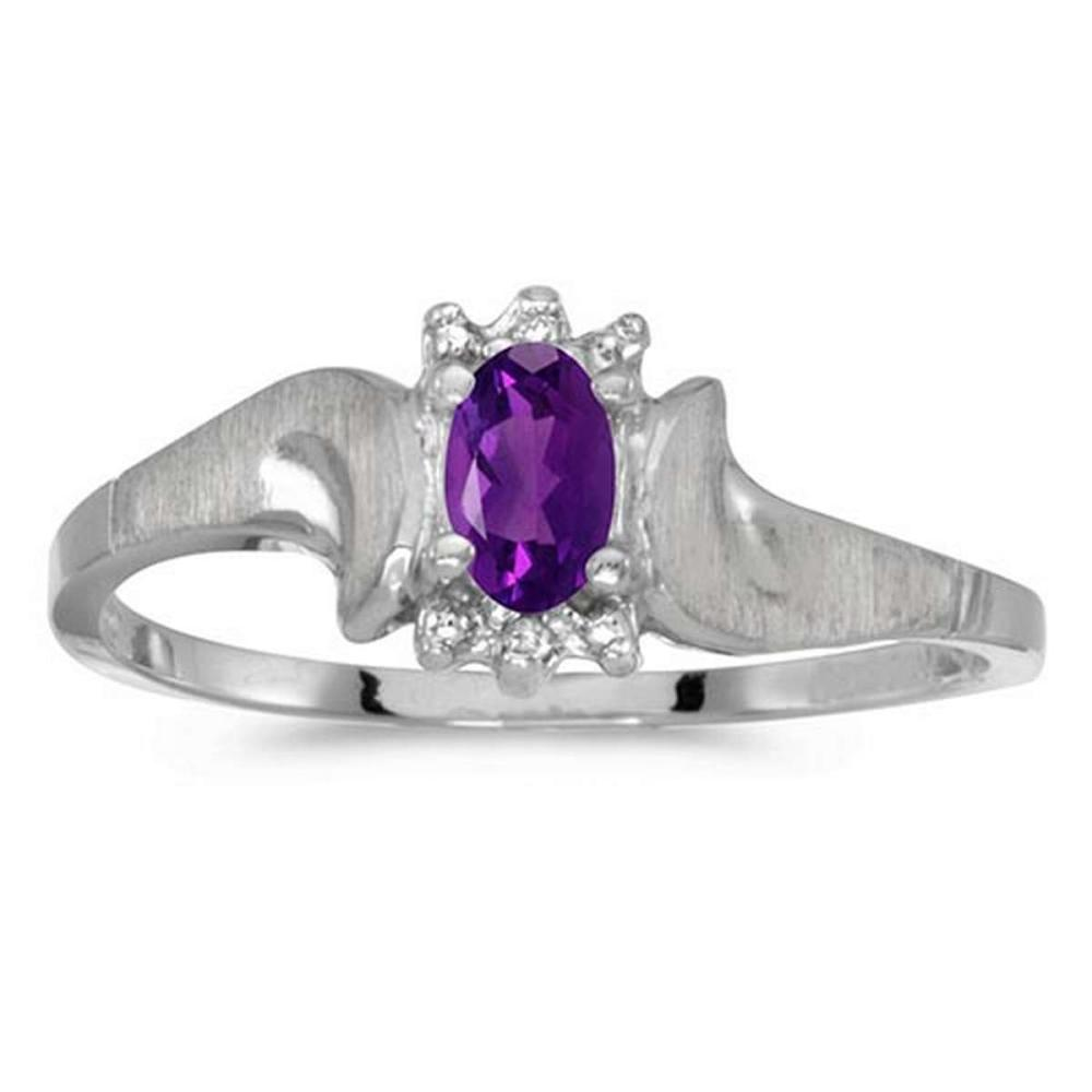 Certified 10k White Gold Oval Amethyst And Diamond Satin Finish Ring #PAPPS50750