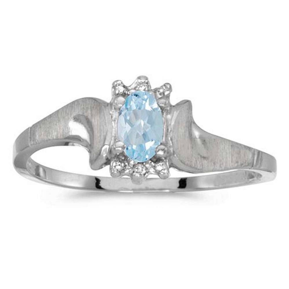 Certified 10k White Gold Oval Aquamarine And Diamond Satin Finish Ring #PAPPS50745