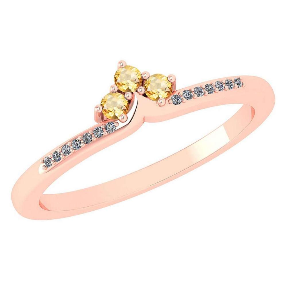 Certified 0.13 Ctw Citrine And Diamond 18k Rose Gold Halo Ring (VS/SI1) MADE IN USA #PAPPS20497