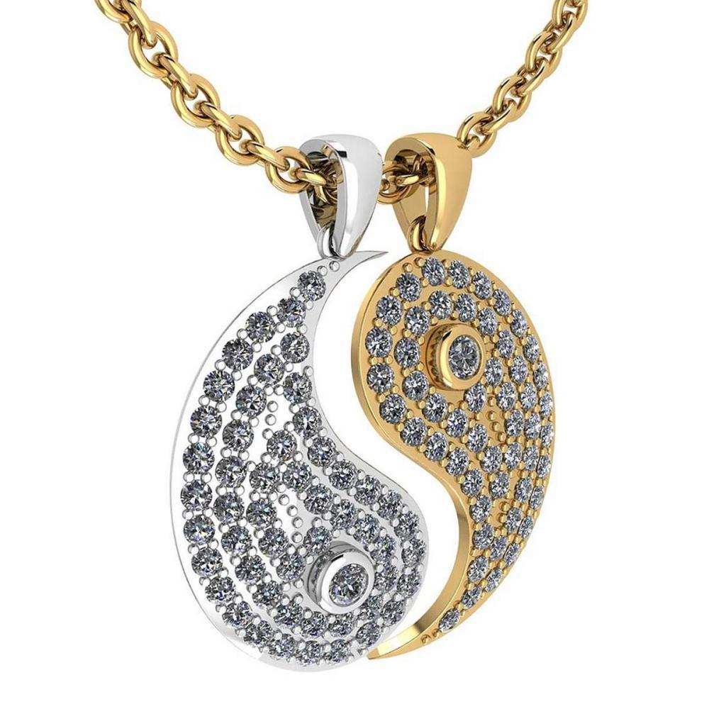 Certified 2.32 Ctw Diamond Couple Pendant New Expressions love collection 18K White And Yellow Gold #PAPPS19494