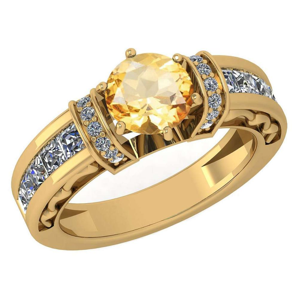 Certified 2.15 Ctw Citrine And Diamond Ladies Fashion Halo Ring 14K Yellow Gold (VS/SI1) MADE IN USA #PAPPS21056