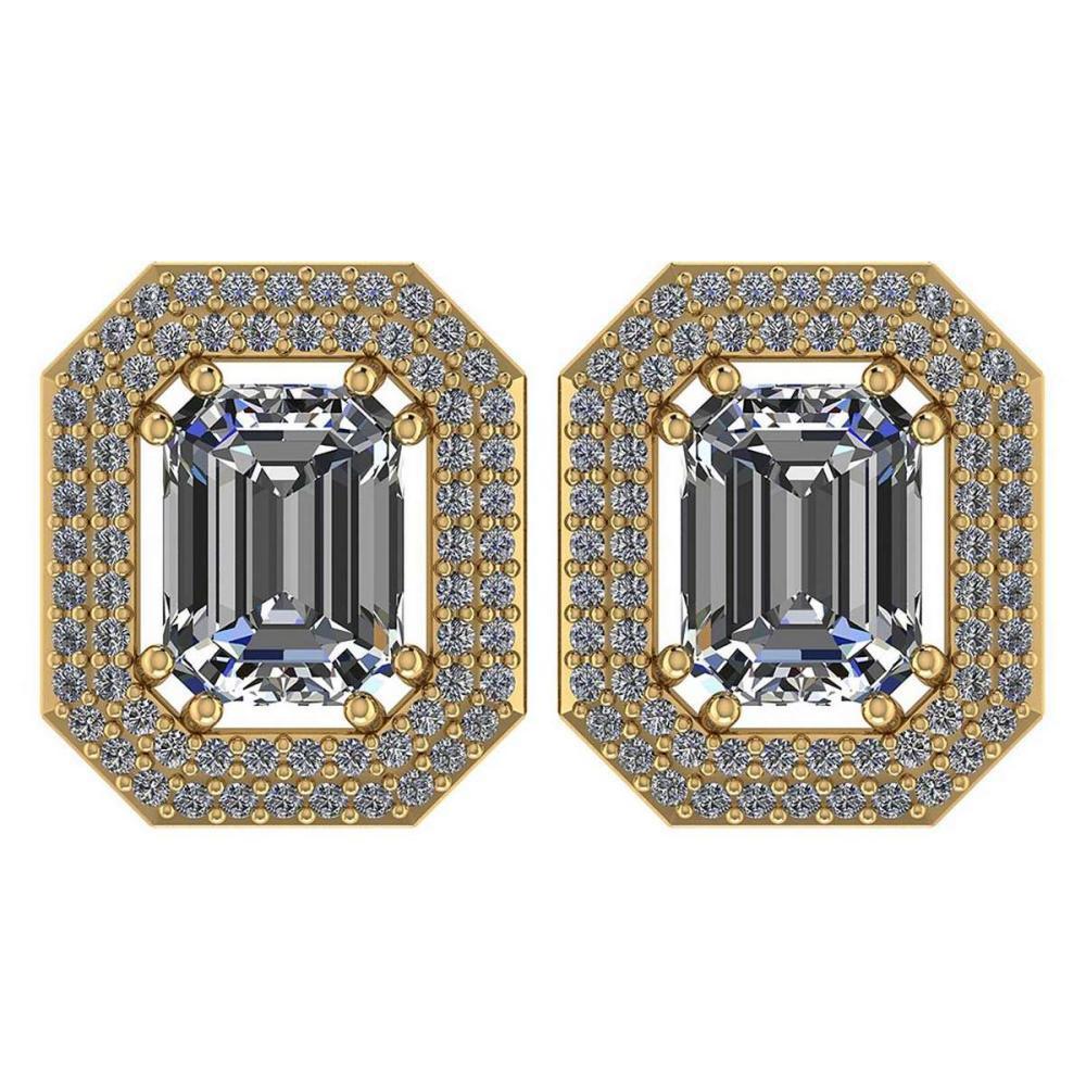 3.71 Ctw Diamond 14k Yellow Gold Halo Stud Earrings VS/SI2 #PAPPS96017