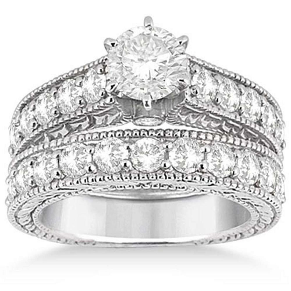 Antique Diamond Wedding and Engagement Ring Set 14k White Gold (3.05ct) #PAPPS20575