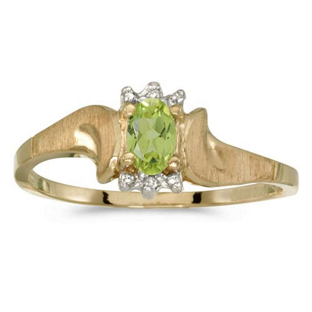 Certified 10k Yellow Gold Oval Peridot And Diamond Satin Finish Ring #PAPPS50776
