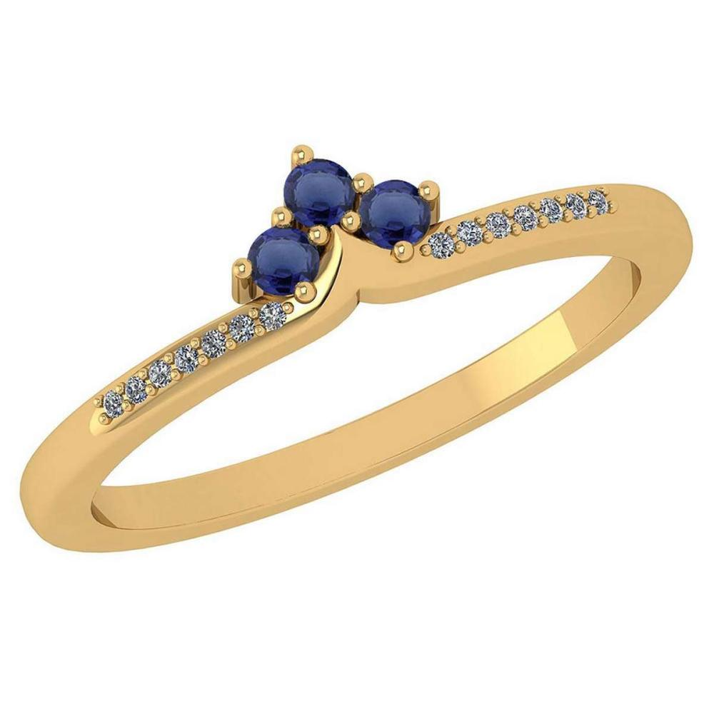 Certified 0.13 Ctw Blue Sapphire And Diamond 18k Yellow Gold Halo Ring (VS/SI1) MADE IN USA #PAPPS20499