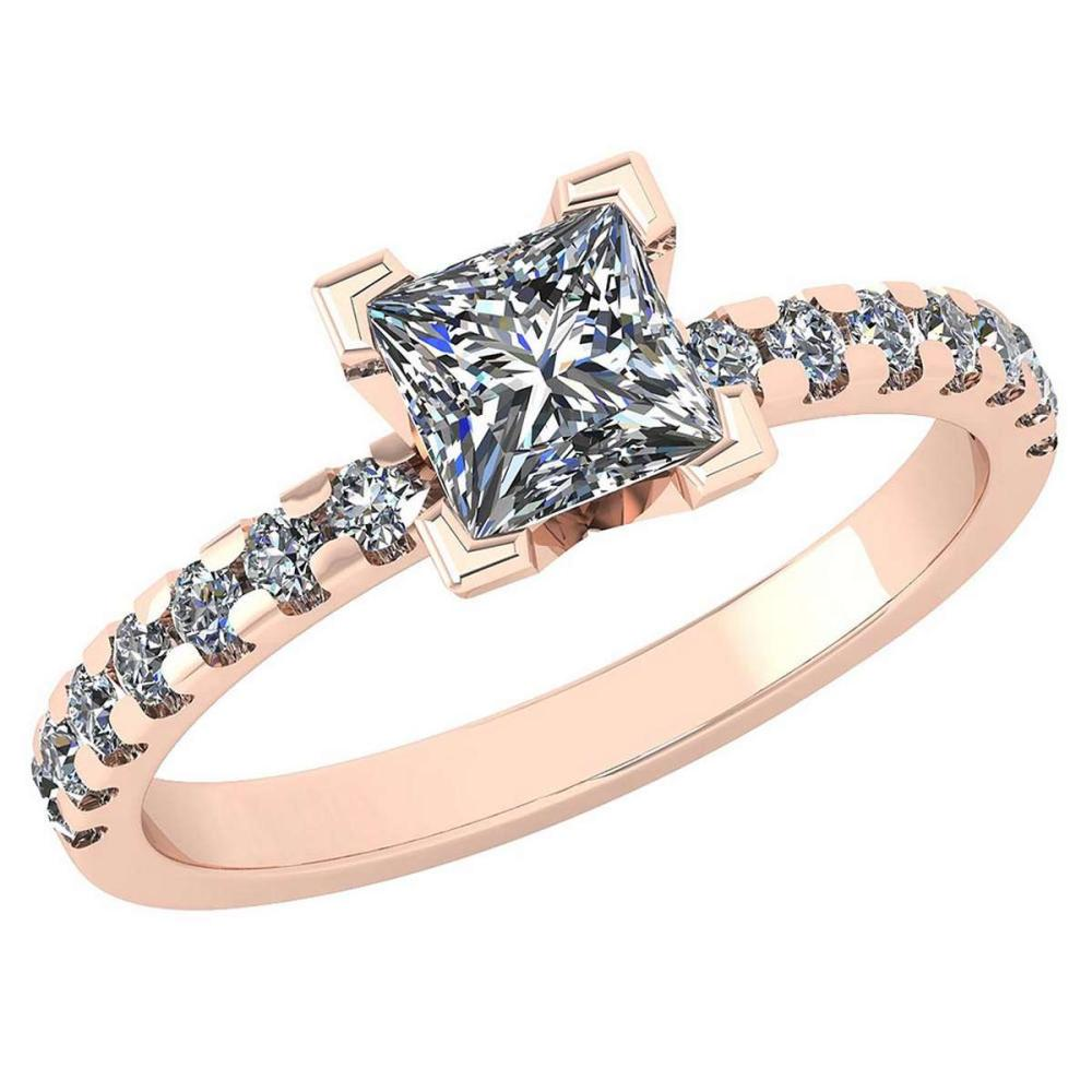 Certified 0.96 Ctw Diamond VS/SI1 Princess Cut 14K Rose Gold Halo Ring Made In USA #PAPPS22183