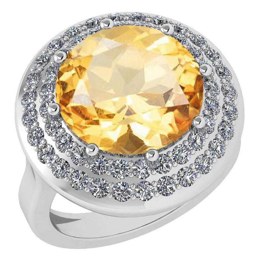 Certified 7.30 Ctw Citrine And Diamond VS/SI1 Halo Ring 14K White Gold MADE IN USA #PAPPS21609