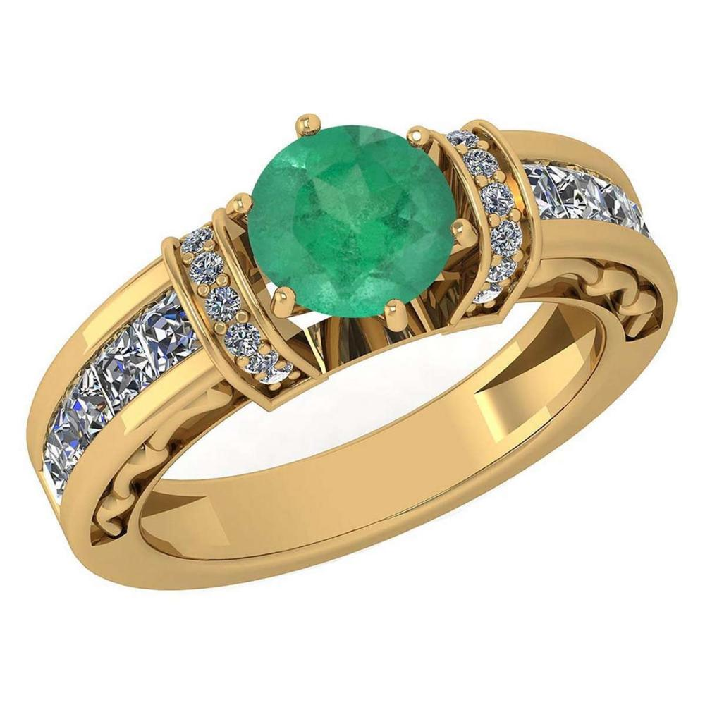 Certified 2.15 Ctw Emerald And Diamond 18K Yellow Gold Halo Ring (VS/SI1) #PAPPS19525