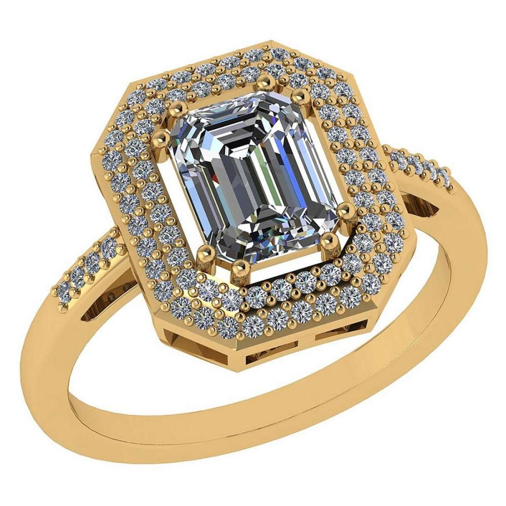 1.12 Ctw Diamond 14k Yellow Gold Halo Ring #PAPPS96022