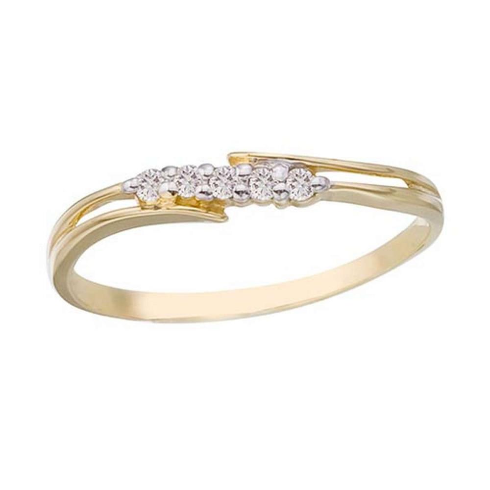 Certified 14K Yellow Gold and Diamond Bypass Promise Ring #PAPPS50758