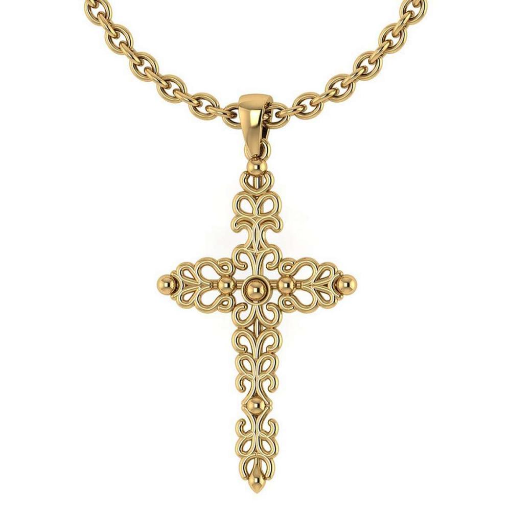Gold Cross Pendant 18K Yellow Gold Made In Italy #PAPPS22292