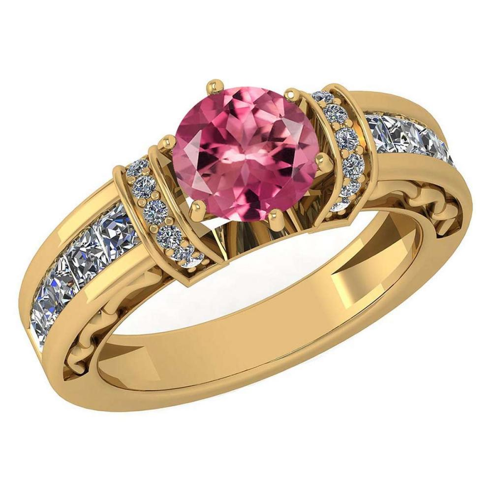 Certified 2.15 Ctw Pink Tourmaline And Diamond 18K Yellow Gold Halo Ring (VS/SI1) #PAPPS19523
