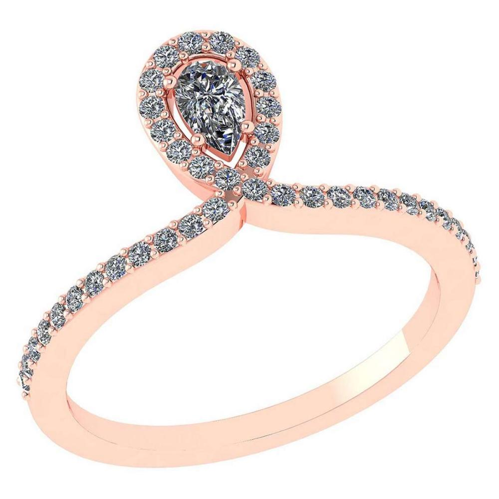 0.57 Ctw Pear Cut Diamond 14k Rose Gold Halo Ring VS/SI1 #PAPPS96006