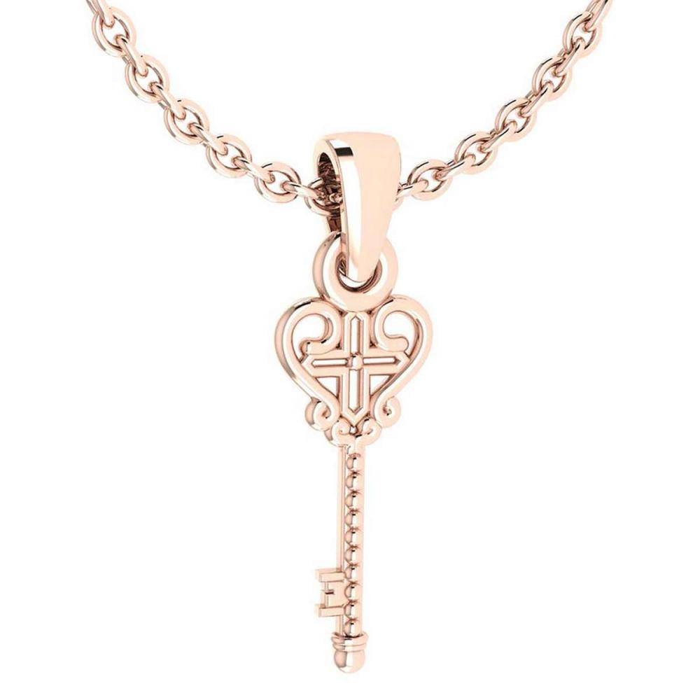 Gold Key Necklace 18K Rose Gold Made In Italy #PAPPS22324