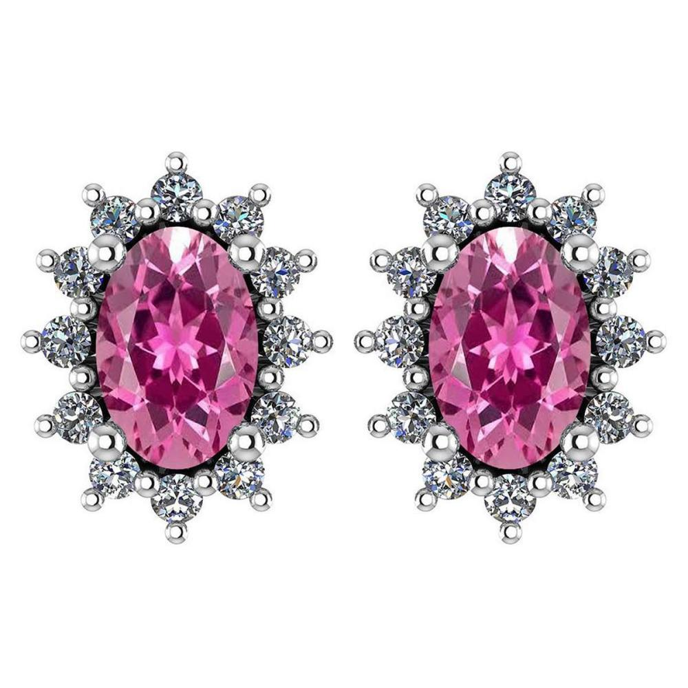 Certified 1.24 Ctw Pink Tourmaline And Diamond 18k White Gold Halo Stud Earrings (VS/SI1) MADE IN USA #PAPPS20554