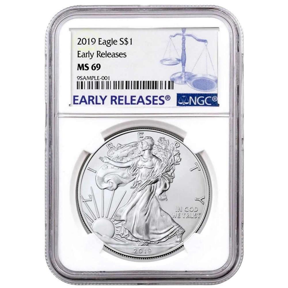 Certified Uncirculated Silver Eagle 2019 MS69 NGC Early Releases #PAPPS84526
