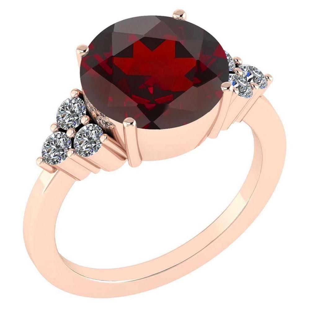Certified 3.60 Ctw Garnet And Diamond VS/SI1 Ring 14K Rose Gold MADE IN USA #PAPPS21588