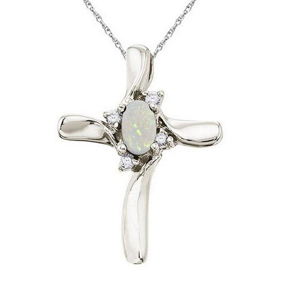 0.50Ctw Opal and Diamond Cross Necklace Pendant 14k Whi
