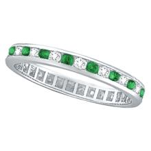 Emerald and Diamond Channel Set Eternity Band Ring Palladium (1.04ct) #20824v3