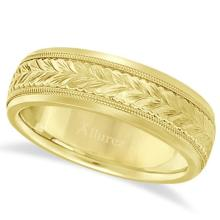 Hand Engraved Wedding Band Carved Ring in 14k Yellow Gold (4.5mm) #PAPPS21088