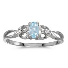Certified 10k White Gold Oval Aquamarine And Diamond Ring 0.16 CTW #51499v3