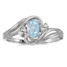 Certified 10k White Gold Oval Aquamarine And Diamond Ring 0.6 CTW #51128v3