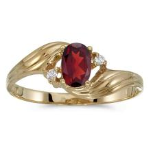 Certified 10k Yellow Gold Oval Garnet And Diamond Ring 0.49 CTW #51214v3
