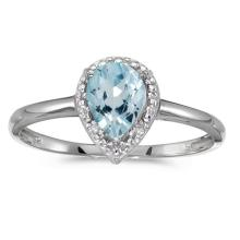 Certified 10k White Gold Pear Aquamarine And Diamond Ring 0.51 CTW #51482v3