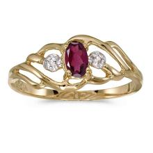 Certified 10k Yellow Gold Oval Rhodolite Garnet And Diamond Ring 0.24 CTW #51211v3