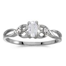 Certified 10k White Gold Oval White Topaz And Diamond Ring 0.25 CTW #51494v3
