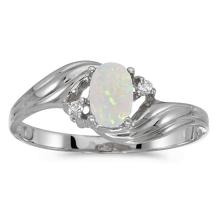Certified 14k White Gold Oval Opal And Diamond Ring 0.22 CTW #51501v3