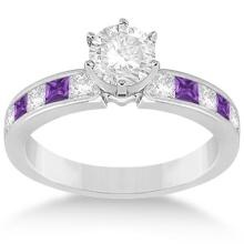Channel Amethyst and Diamond Engagement Ring 14k White Gold (1.50ct) #20860v3