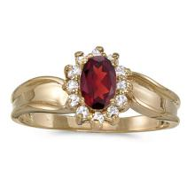 Certified 10k Yellow Gold Oval Garnet And Diamond Ring 0.61 CTW #51406v3