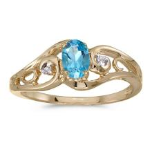 Certified 14k Yellow Gold Oval Blue Topaz And Diamond Ring 0.41 CTW #51208v3