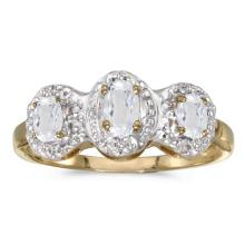Certified 10k Yellow Gold Oval White Topaz And Diamond Three Stone Ring 0.68 CTW #51496v3