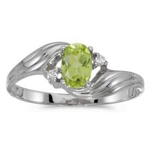Certified 10k White Gold Oval Peridot And Diamond Ring 0.42 CTW #51134v3