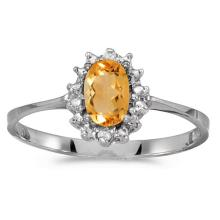 Certified 14k White Gold Oval Citrine And Diamond Ring 0.33 CTW #51139v3