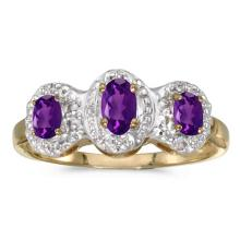 Certified 10k Yellow Gold Oval Amethyst And Diamond Three Stone Ring 0.47 CTW #51507v3