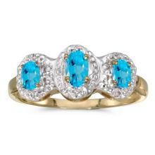 Certified 10k Yellow Gold Oval Blue Topaz And Diamond Three Stone Ring 0.58 CTW #51478v3