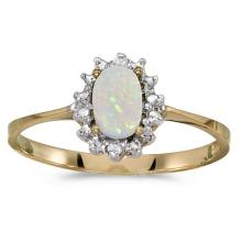 Certified 14k Yellow Gold Oval Opal And Diamond Ring 0.21 CTW #51209v3