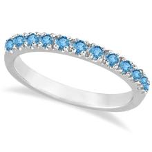 Blue Topaz Stackable Band Ring Guard in 14k White Gold (0.38ct) #20728v3