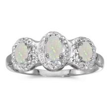 Certified 14k White Gold Oval Opal And Diamond Three Stone Ring 0.33 CTW #51307v3
