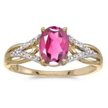 Certified 10k Yellow Gold Oval Pink Topaz And Diamond Ring 1.35 CTW #51500v3