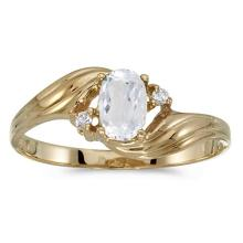 Certified 10k Yellow Gold Oval White Topaz And Diamond Ring 0.5 CTW #51206v3