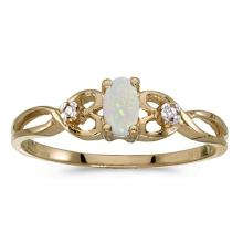 Certified 14k Yellow Gold Oval Opal And Diamond Ring 0.1 CTW #51409v3
